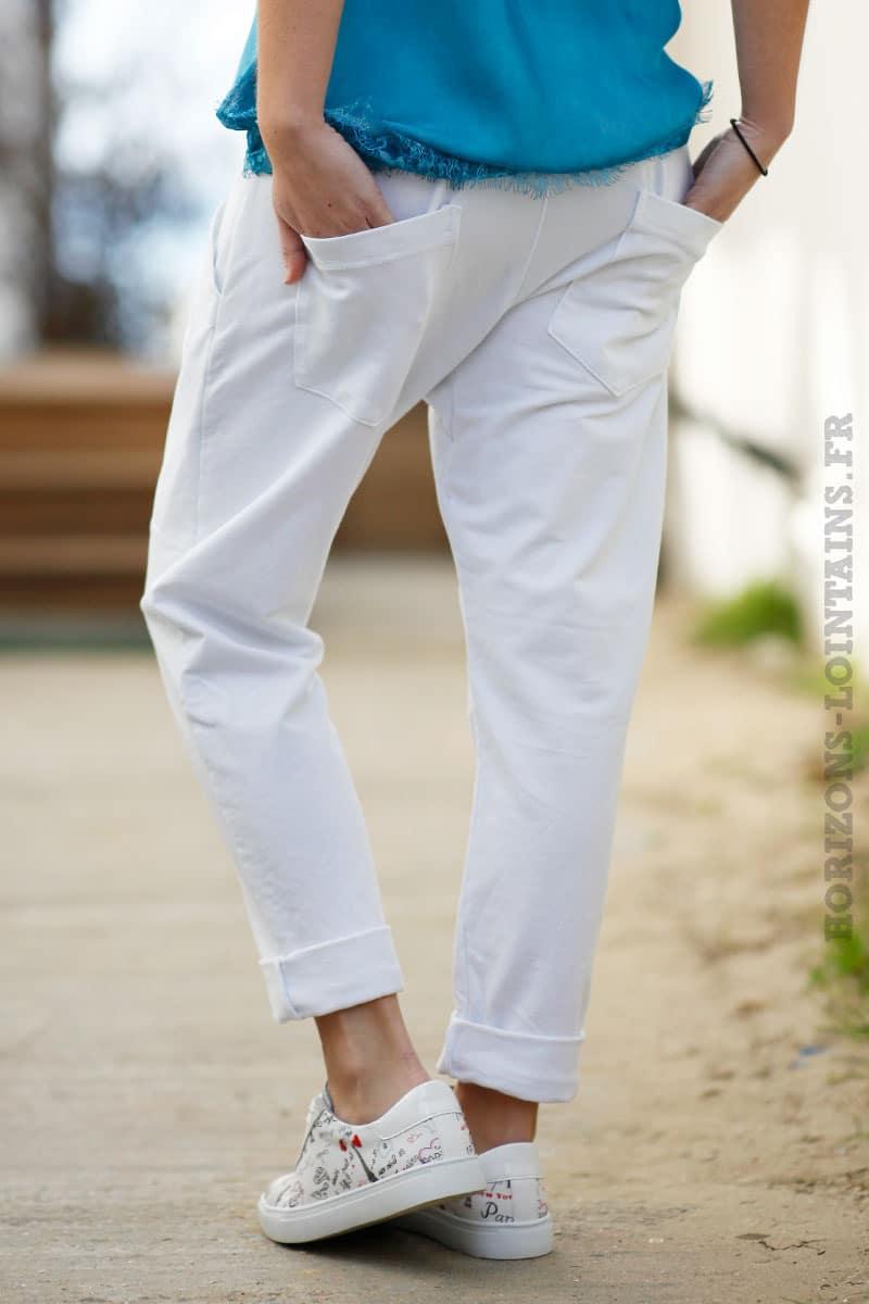 Pantalon de jogging blanc urbain à poches - Horizons Lointains 287b074c06c