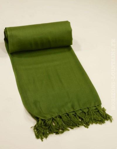 Paréos unis colorés vert kaki vif, taille 115 x 170 cm