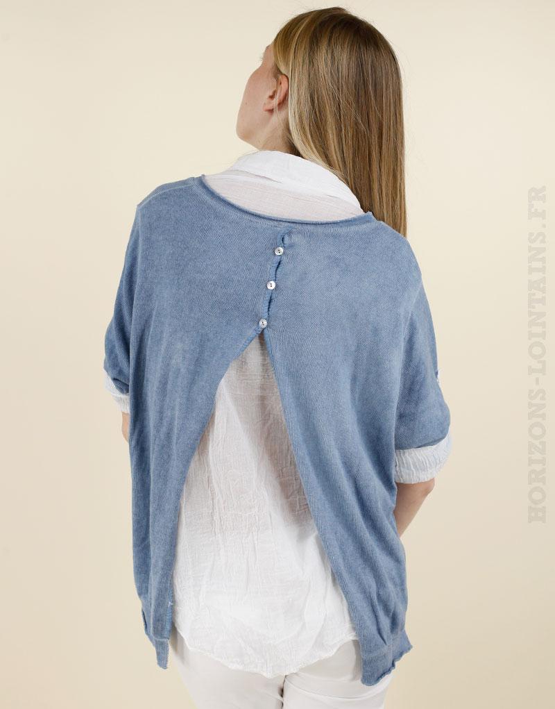 Haut 2 en 1 bleu jean étoile brodée ouvert dans le dos