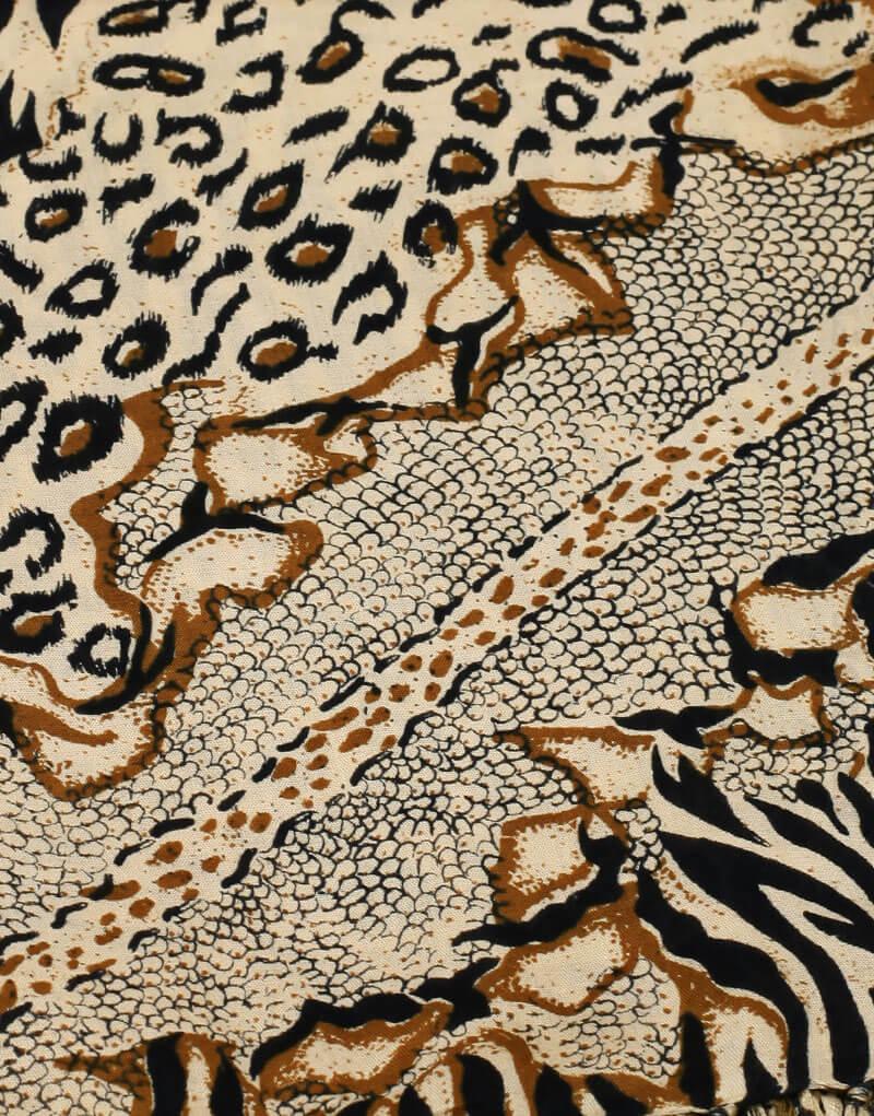 Parèo de plage long motif savane afrique, peau de crocodile, léopard et zèbre