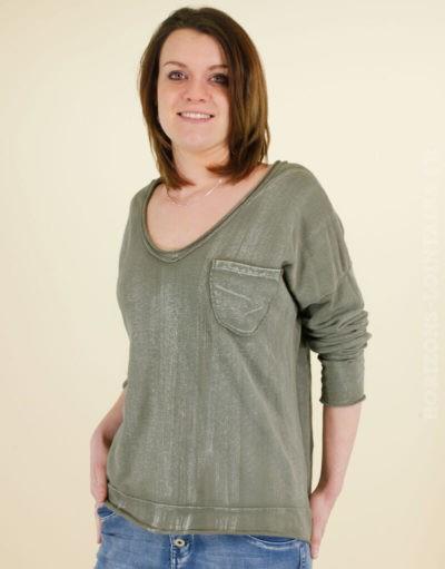 Sweat shirt fin délavé vert kaki traces poche