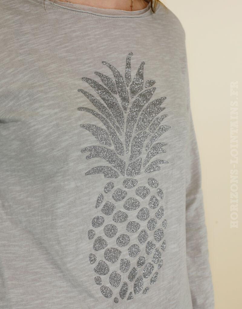 T-shirt gris à manches longues, Ananas brillant gris argenté