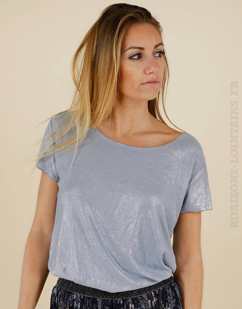 Tshirt bleu jean argenté manches courtes col rond
