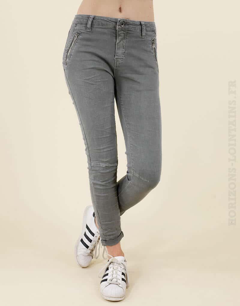Jean gris poches zip - Horizons Lointains a6858a602c22