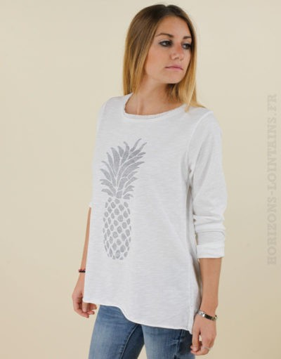 T-shirt blanc Ananas argenté 01
