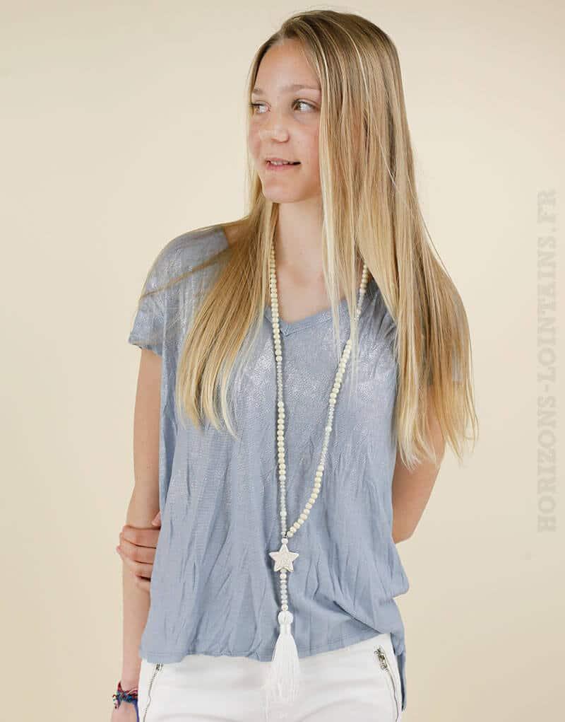 T-shirt bleu devant argenté étoile dans le dos 01
