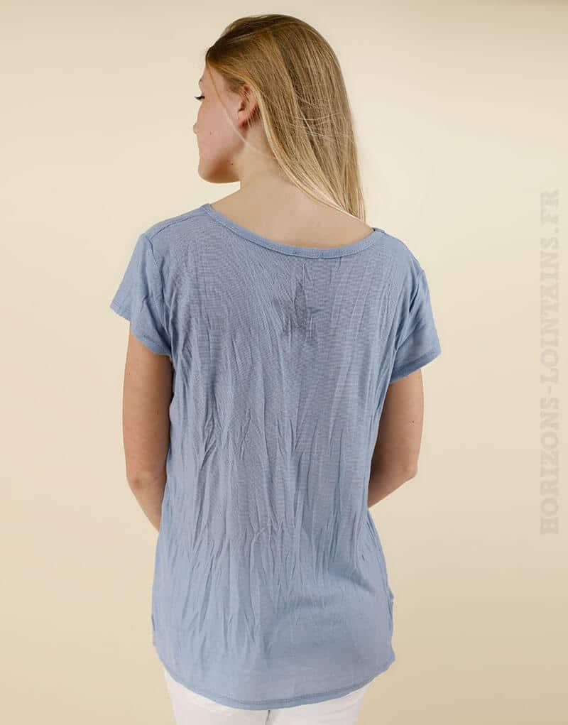 T-shirt bleu devant argenté étoile dans le dos 02