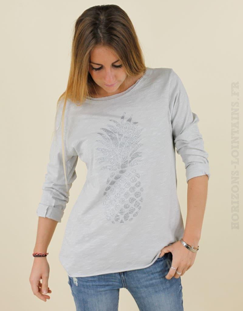T-shirt gris Ananas argenté -01