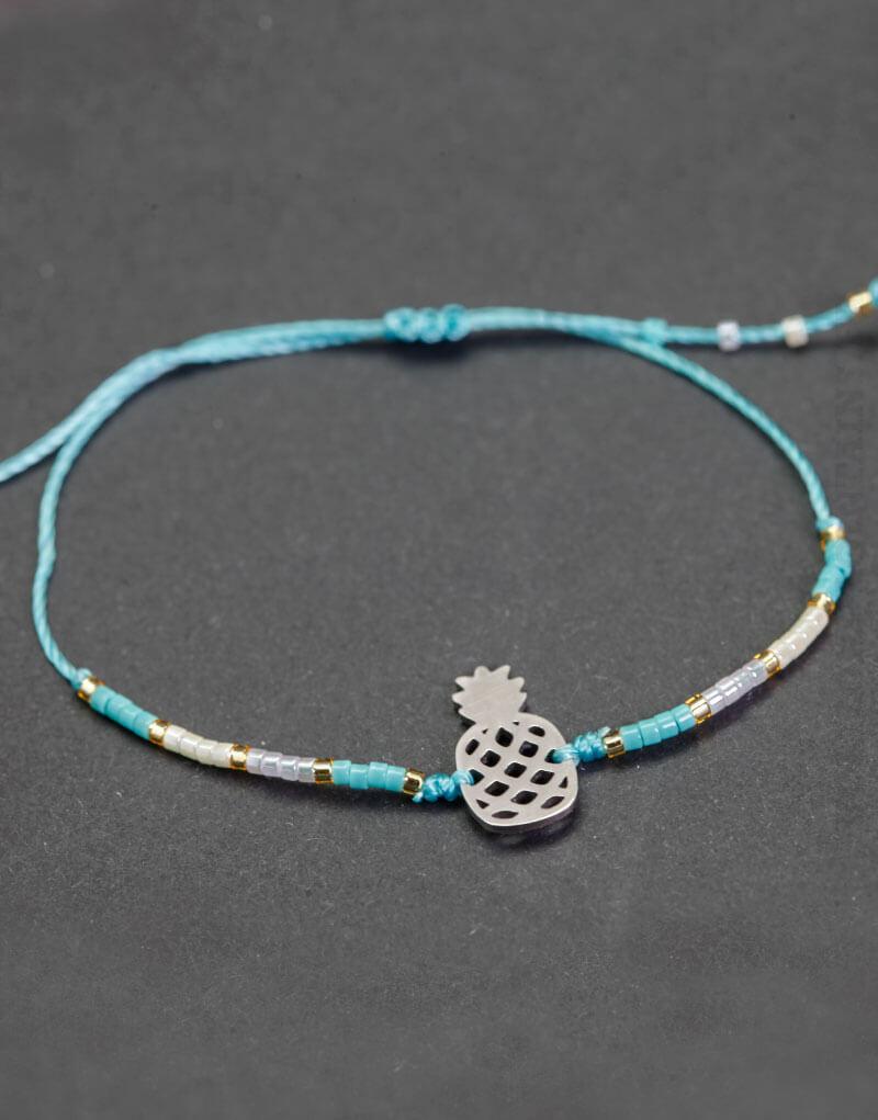 Bracelet bleu blanc et doré, Ananas argenté