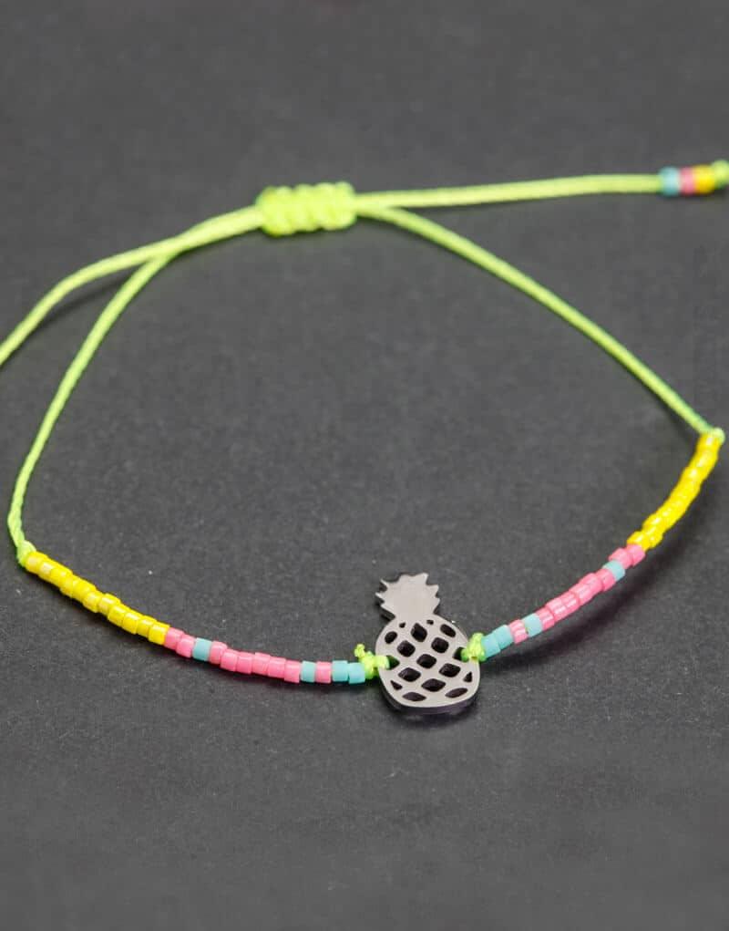 Bracelet vert jaune rose et bleu, Ananas argenté