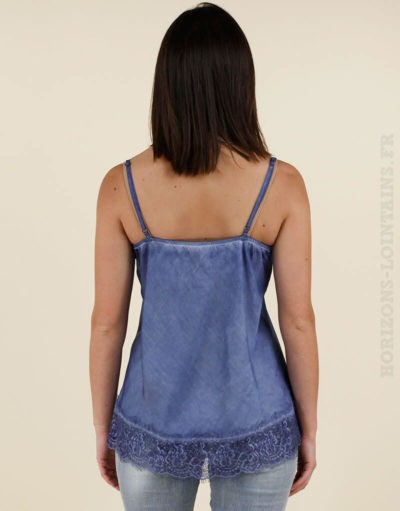 Débardeur fin chic bleu jean avec detail en dentelle
