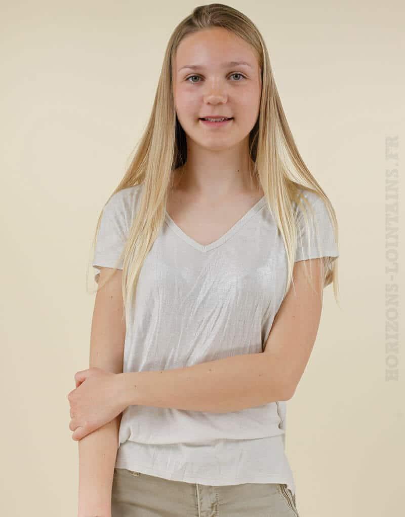 T-shirt beige devant argenté étoile dans le dos 01