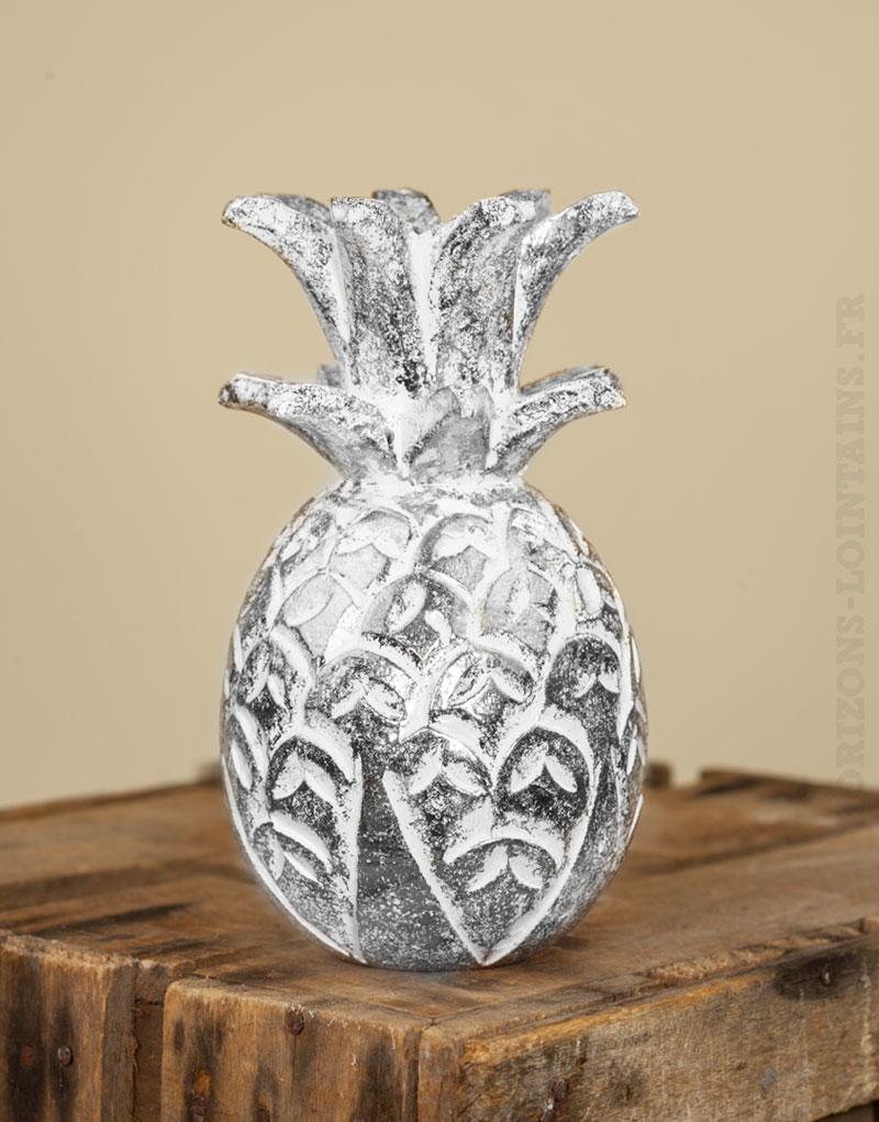 Ananas bois blanc c rus argent petit mod le horizons for Petit ananas deco