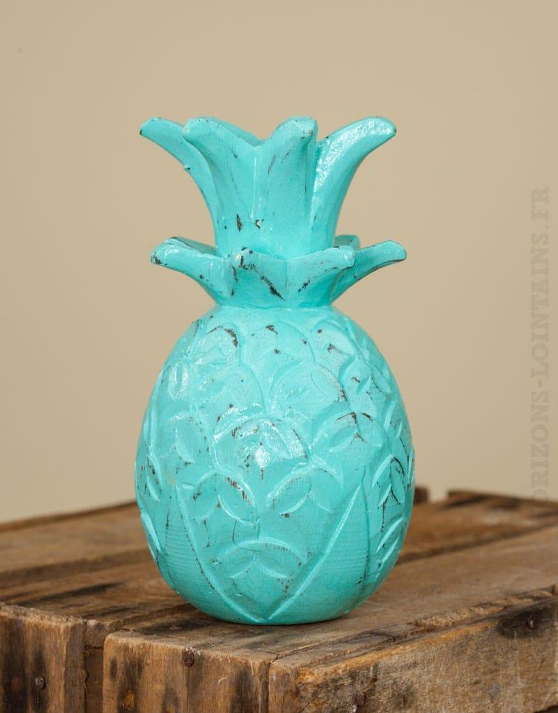Ananas bois turquoise c rus petit mod le horizons for Objet deco couleur turquoise