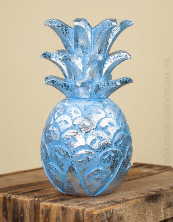 Ananas bois turquoise c rus argent petit mod le for Ananas deco argent