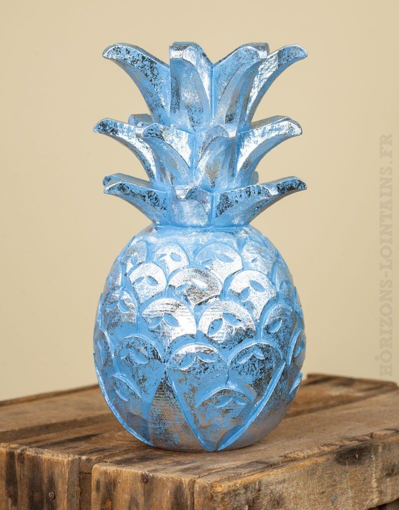 Ananas bois bleu c rus argent moyen mod le horizons for Ananas deco argent