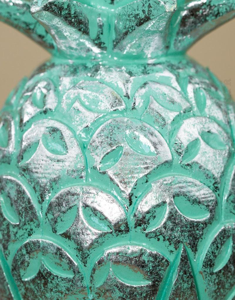 Ananas bois cérusé turquoise argenté - Moyen Modèle - Horizons Lointains