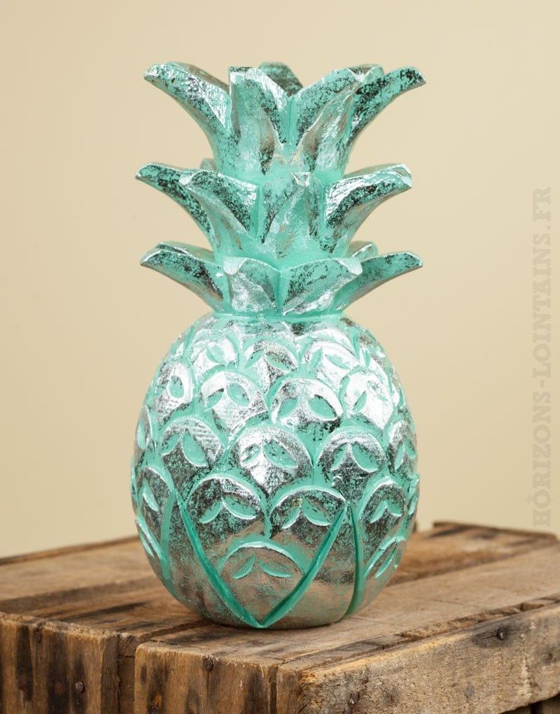 Ananas bois c rus turquoise argent moyen mod le for Ananas deco argent
