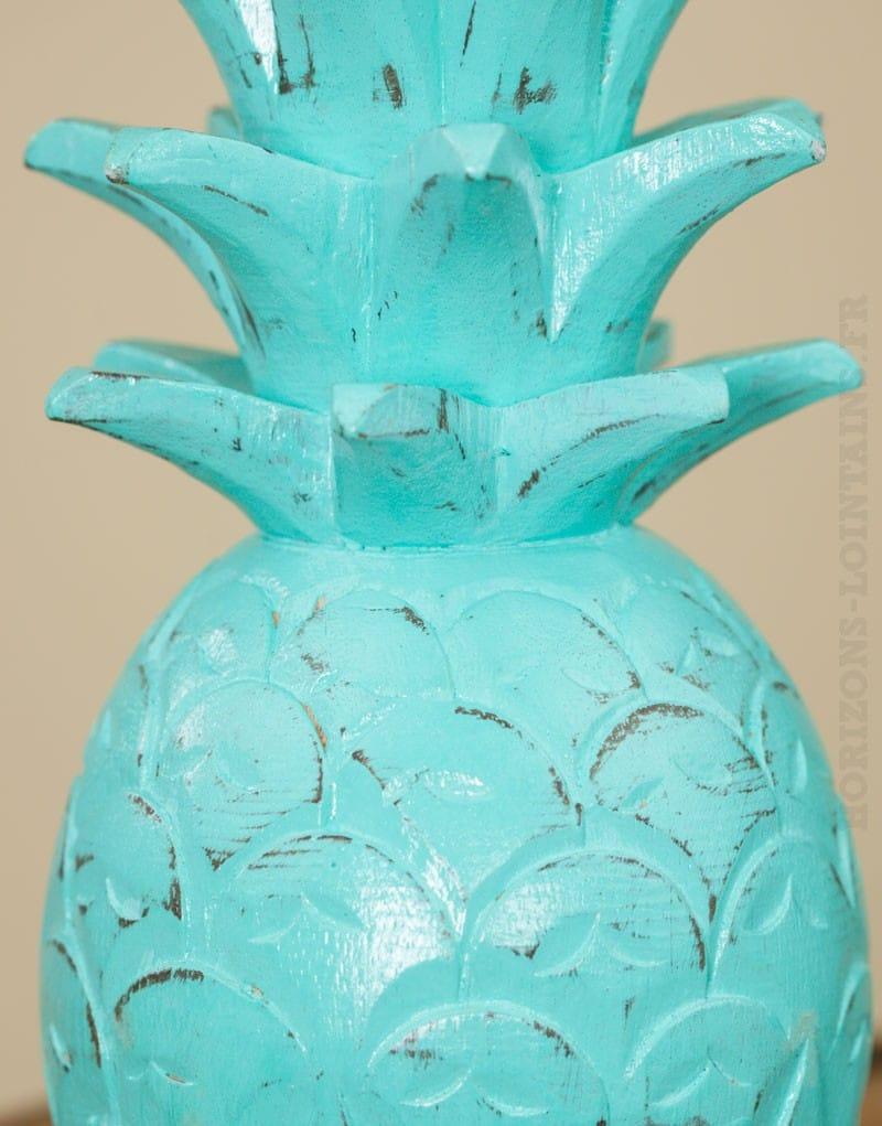 Ananas bois turquoise cérusé - Moyen Modèle - Horizons Lointains