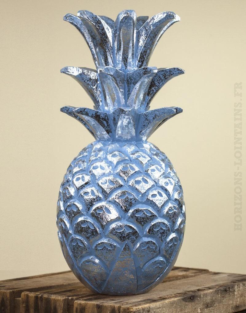 Ananas bois bleu c rus argent grand mod le horizons for Ananas deco argent