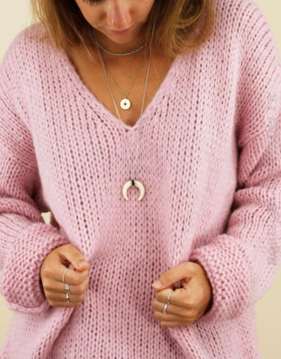 Pull grosses mailles rose 02