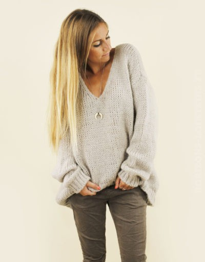Pull grosses mailles taupe, col v