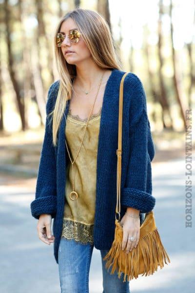 Gilet bleu marine grosses mailles ample confortable vêtement femme horizons lointains look automne hiver 011
