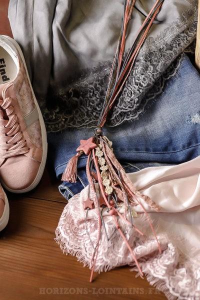 Collier lacet gris rose étoiles breloques bijoux femme bohème