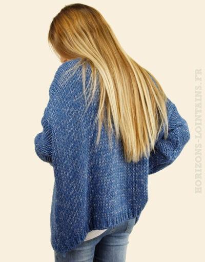 Gilet bleu fils argentés grosses mailles
