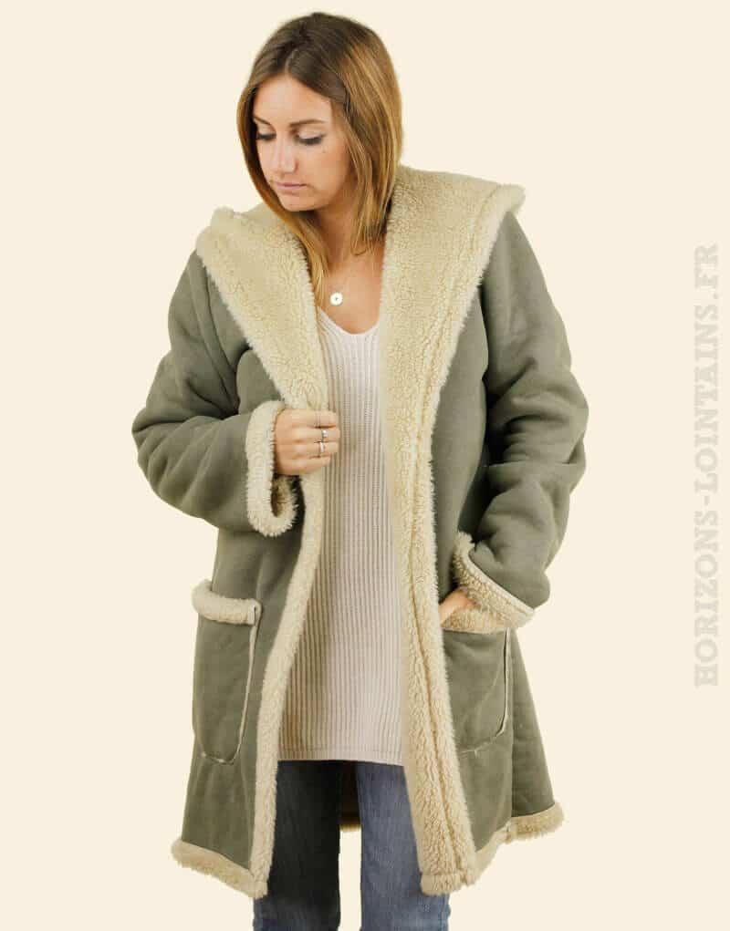 Manteau kaki effet peau retourné, capuche