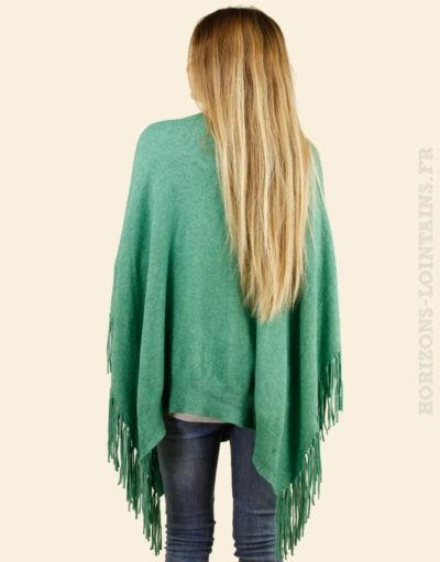 Poncho vert à franges, ample et confortable