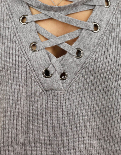 Pull lace-up gris