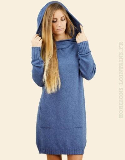 Robe pull bleu jean capuche poches col bardot