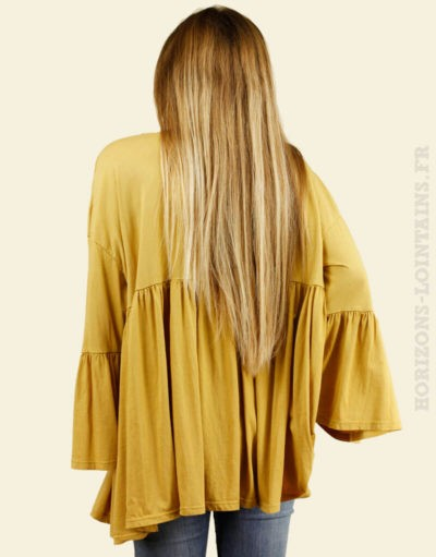 Blouse jersey jaune moutarde manches amples dos