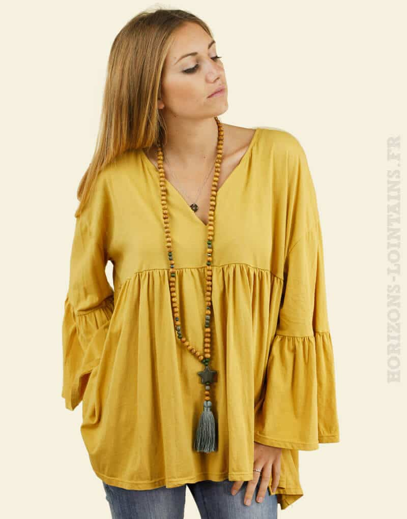 Blouse jersey jaune moutarde manches amples face