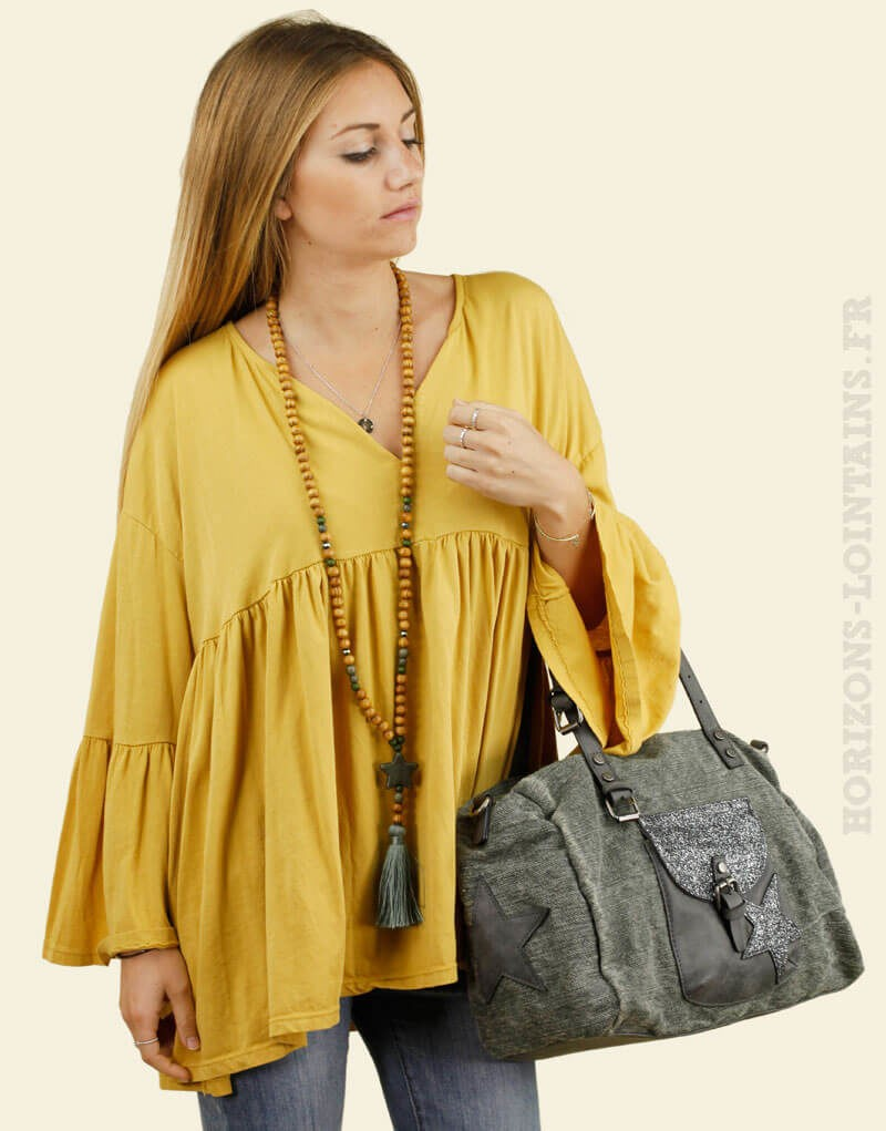 Blouse jersey jaune moutarde manches amples look