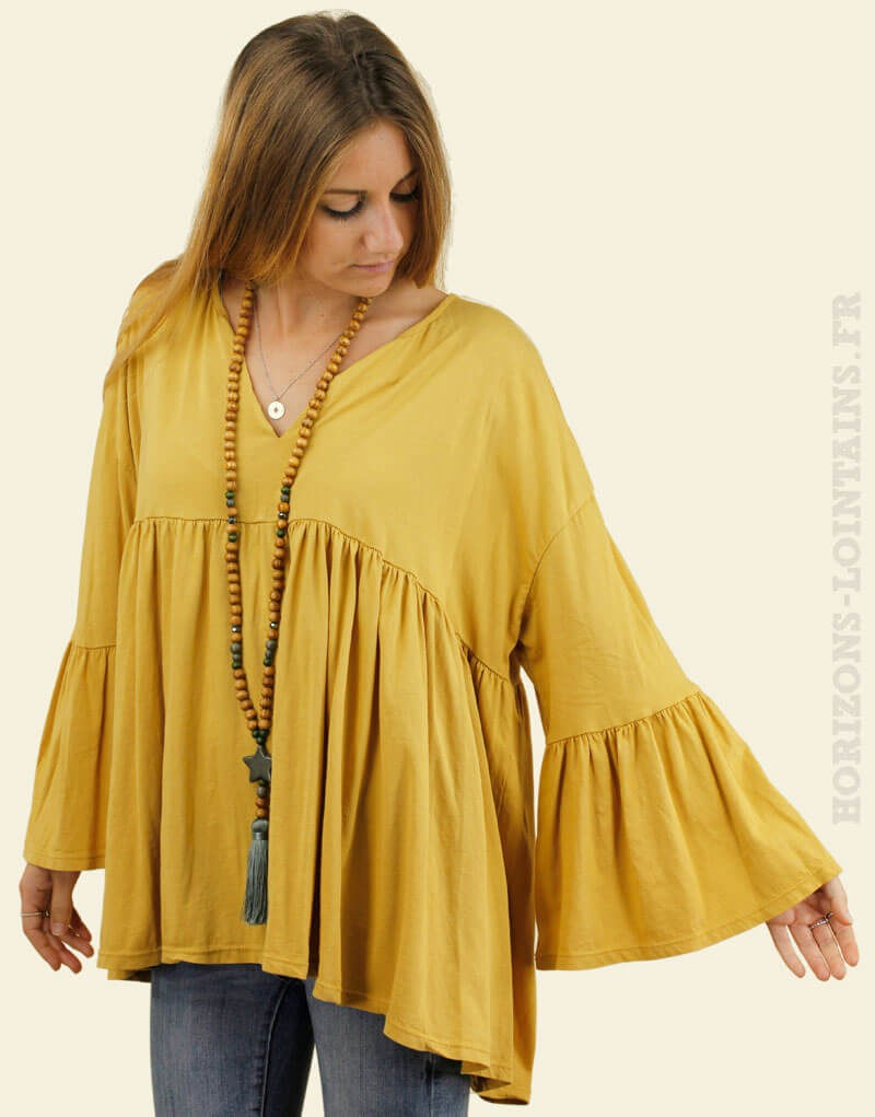 Blouse jersey jaune moutarde manches amples