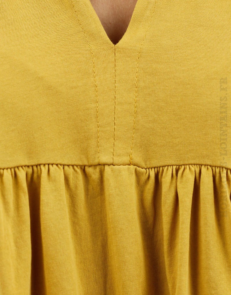 Blouse jersey jaune moutarde manches amples matière