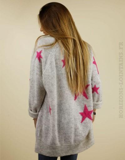 Pull écru chiné gris étoiles roses