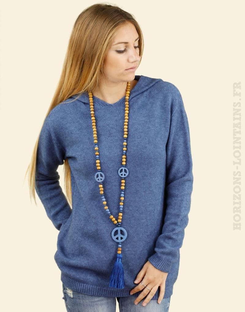 Pull léger et confortable bleu à capuche