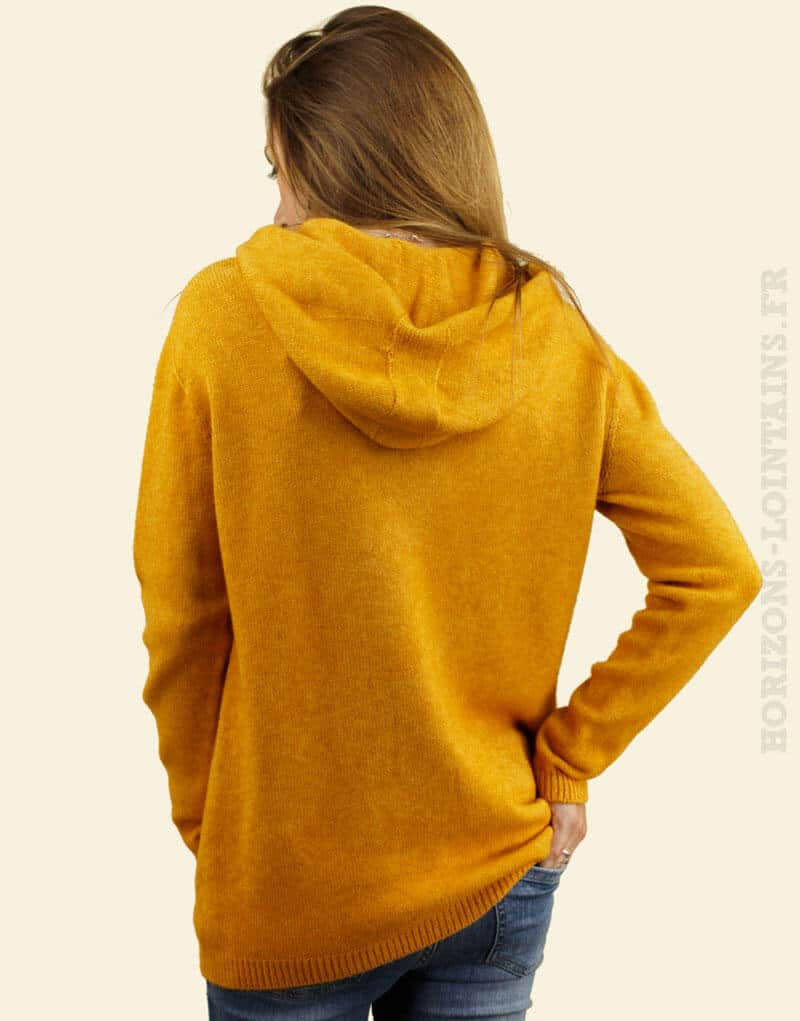 Pull coloré et confortable jaune moutarde à capuche