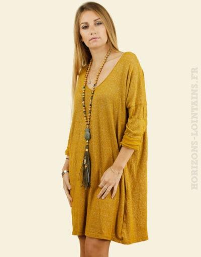 Robe tunique moutarde paillettes argentées