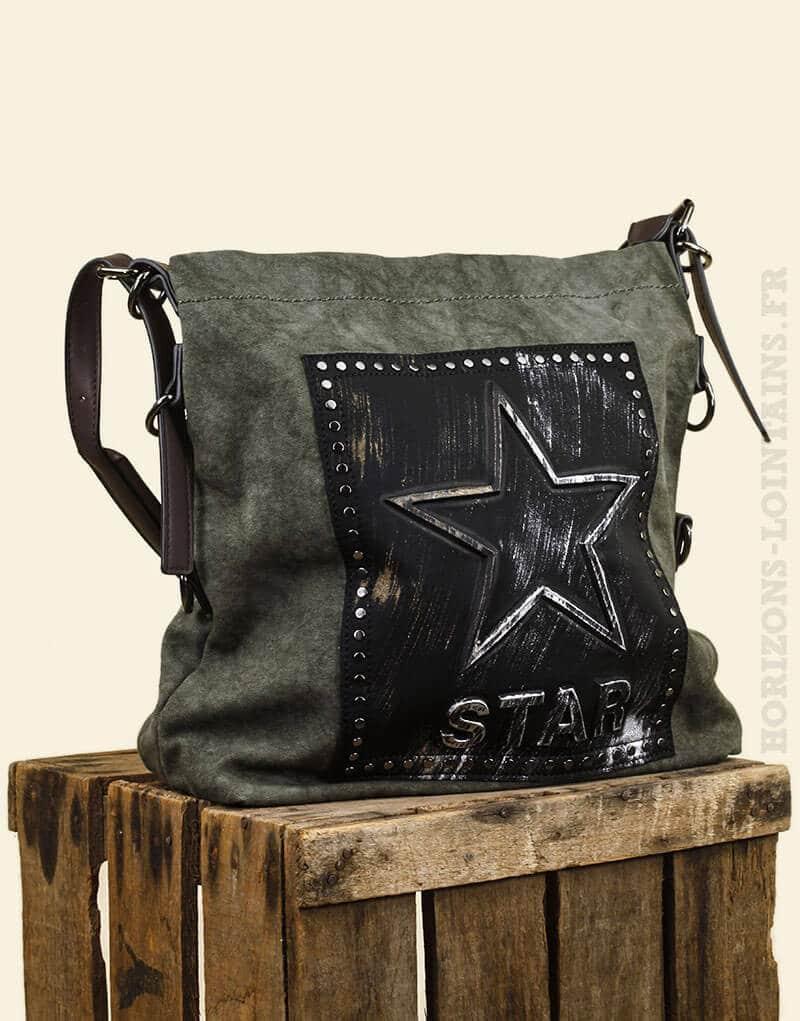 sac main star gris vert toile gaufr e et anse plate avec bandouli re horizons lointains. Black Bedroom Furniture Sets. Home Design Ideas