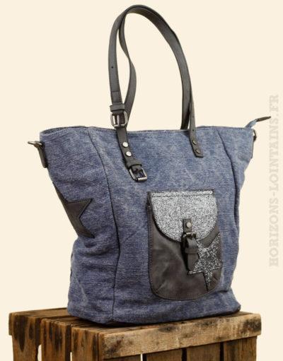 sac main toile délavé bleu jean étoile poche avant