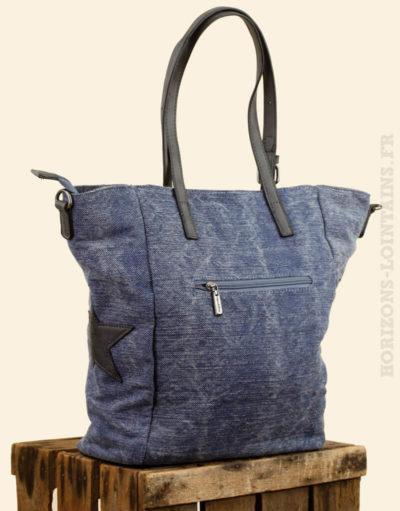 sac main toile délavé bleu jean étoile détail matière