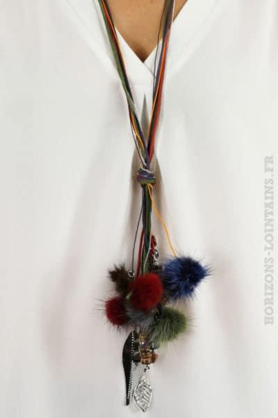 Collier lacet multicolore pompon fourrure breloques argenté plume bijoux look bohème hippie