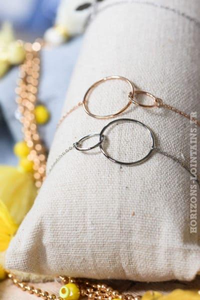 bijoux bracelets anneaux argenté rose gold matière acier