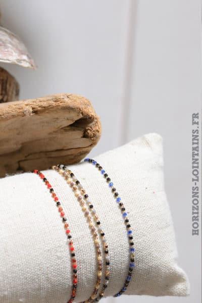 bracelet petites perles fines couleur