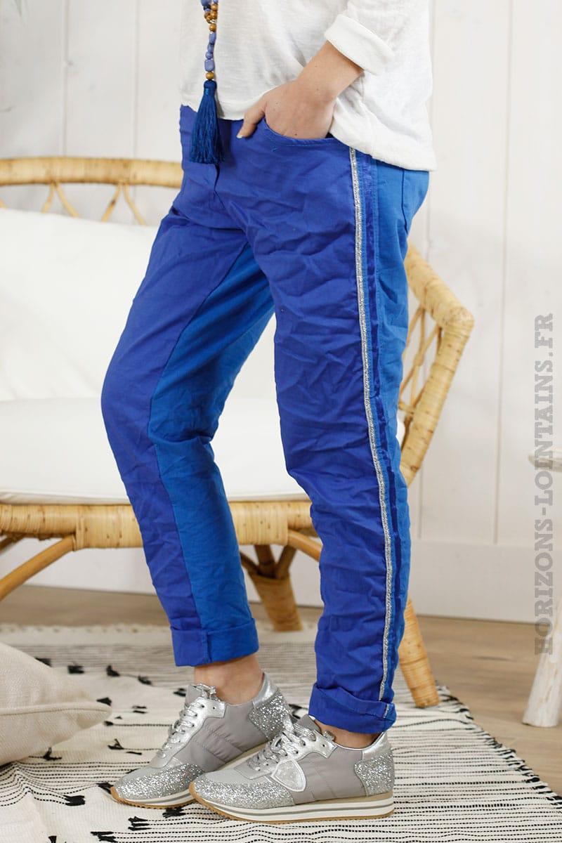 Pantalon confort lacet bleu royal