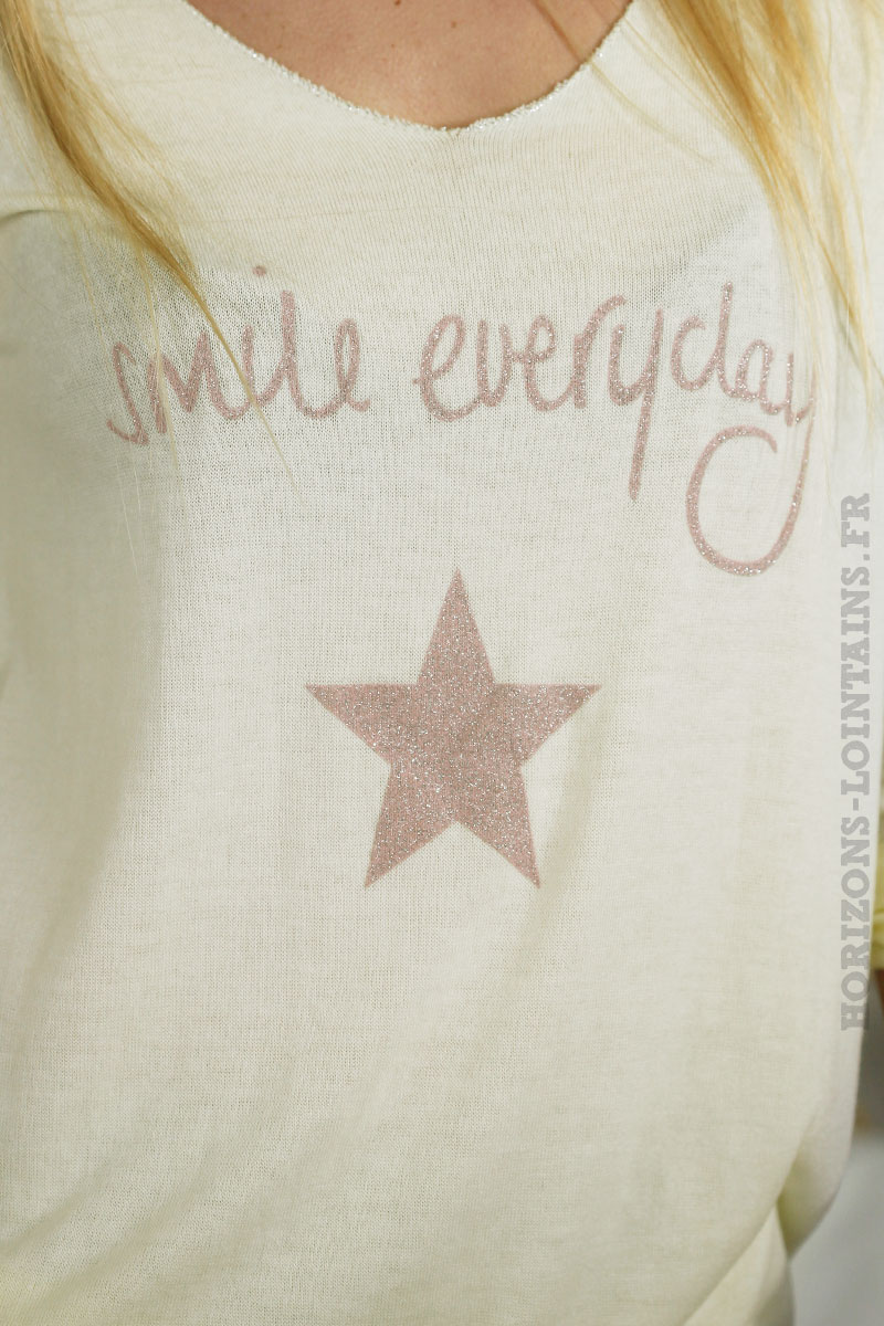 Top manches longues smile everyday jaune